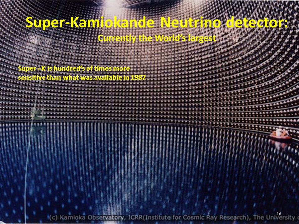 13 SN 1987A – 1 st supernova whose neutrinos were observed