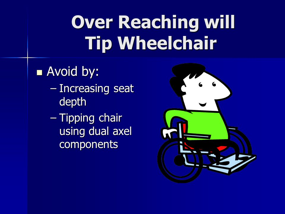 Over Reaching will Tip Wheelchair Over Reaching will Tip Wheelchair Avoid by: Avoid by: –Increasing seat depth –Tipping chair using dual axel componen