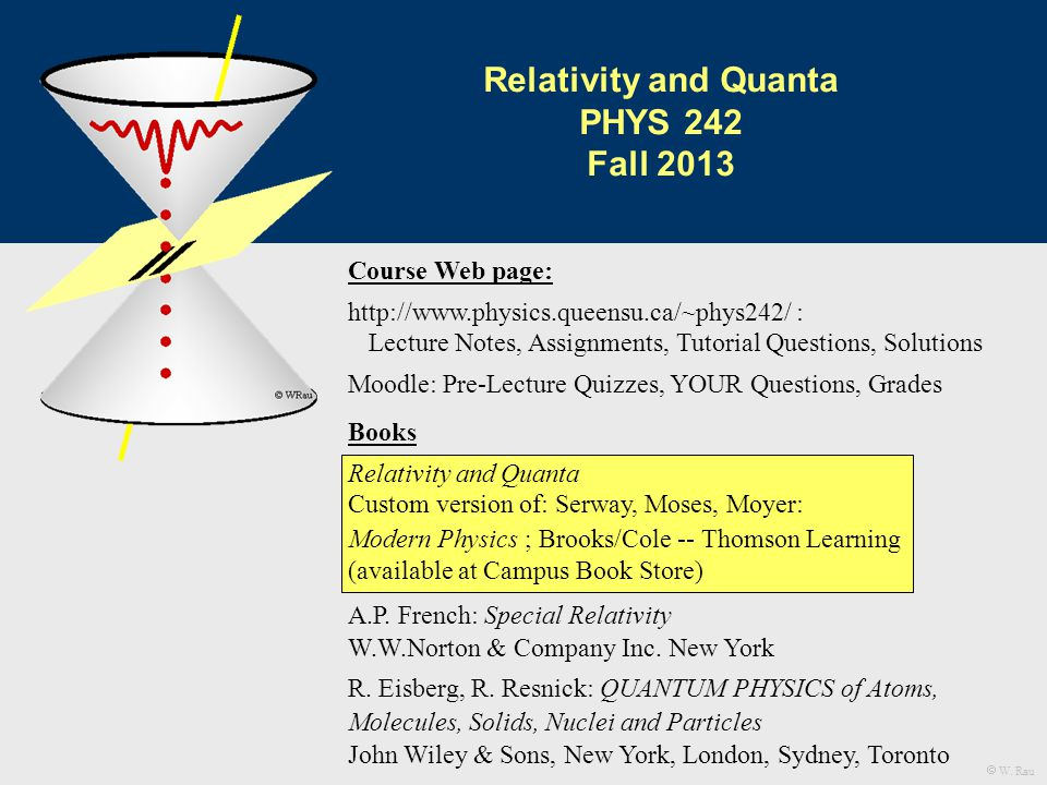 Books Relativity and Quanta Custom version of: Serway, Moses, Moyer: Modern Physics ; Brooks/Cole -- Thomson Learning (available at Campus Book Store) A.P.