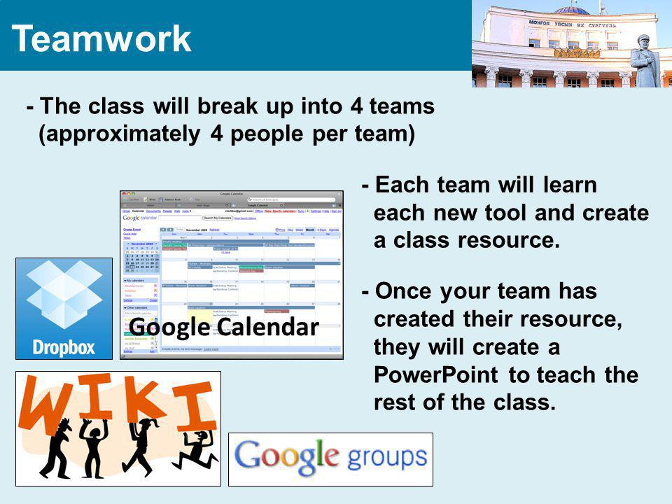 Teamwork - The class will break up into 4 teams (approximately 4 people per team) Google Calendar - Each team will learn each new tool and create a class resource.
