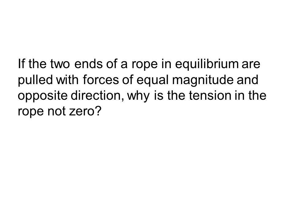 If the two ends of a rope in equilibrium are pulled with forces of equal magnitude and opposite direction, why is the tension in the rope not zero