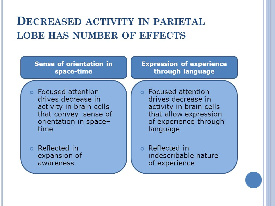 D ECREASED ACTIVITY IN PARIETAL LOBE HAS NUMBER OF EFFECTS Sense of orientation in space-time Expression of experience through language Focused attention drives decrease in activity in brain cells that convey sense of orientation in space– time Reflected in expansion of awareness Focused attention drives decrease in activity in brain cells that allow expression of experience through language Reflected in indescribable nature of experience