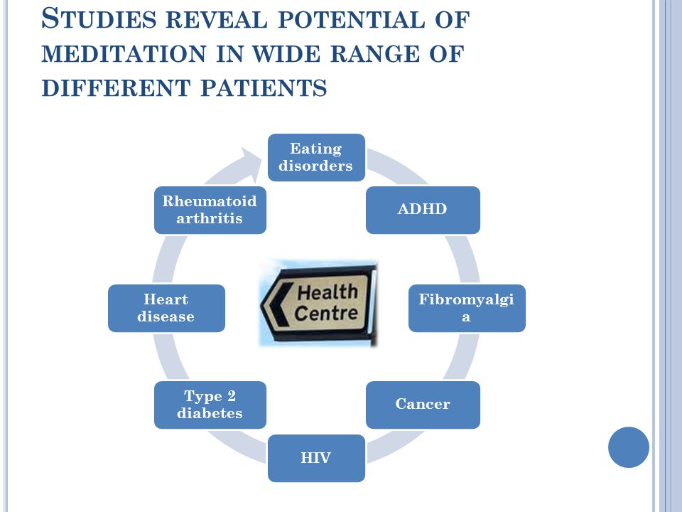 S TUDIES REVEAL POTENTIAL OF MEDITATION IN WIDE RANGE OF DIFFERENT PATIENTS
