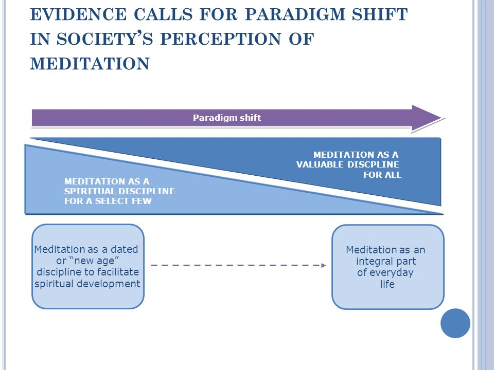 EVIDENCE CALLS FOR PARADIGM SHIFT IN SOCIETY S PERCEPTION OF MEDITATION MEDITATION AS A SPIRITUAL DISCIPLINE FOR A SELECT FEW MEDITATION AS A VALUABLE