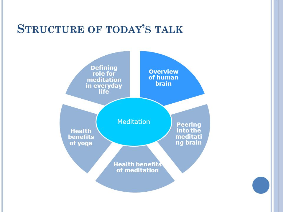 S TRUCTURE OF TODAY S TALK Overview of human brain Peering into the meditati ng brain Health benefits of meditation Health benefits of yoga Defining role for meditation in everyday life Meditation