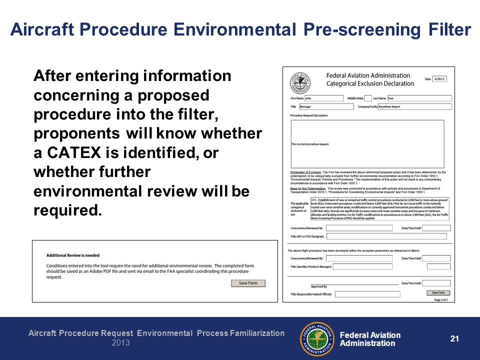 21 Federal Aviation Administration Aircraft Procedure Request Environmental Process Familiarization 2013 After entering information concerning a propo
