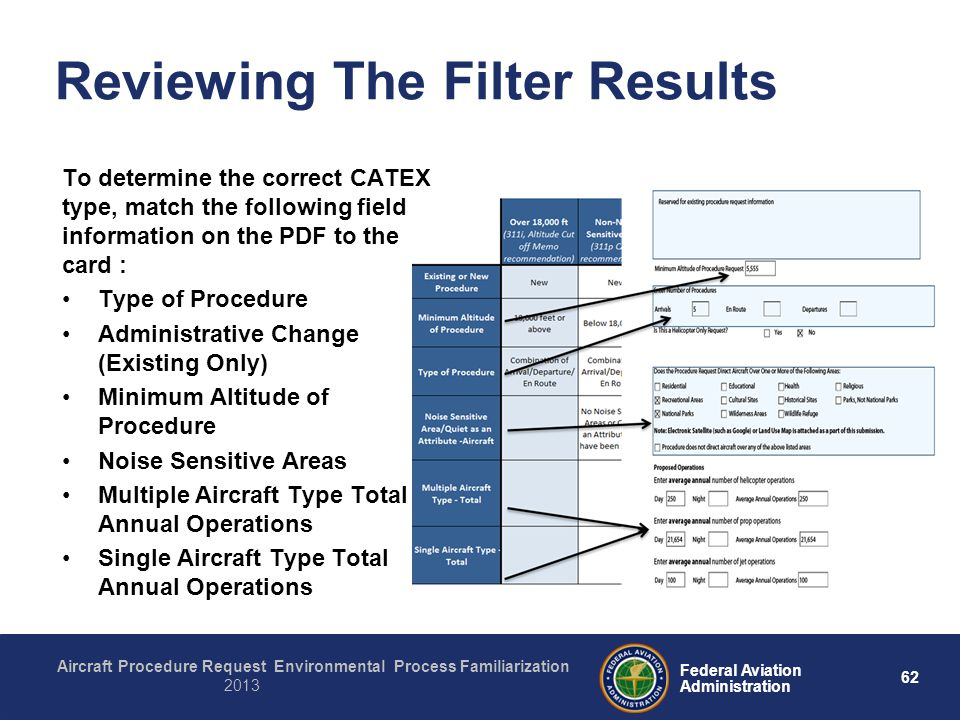 62 Federal Aviation Administration Aircraft Procedure Request Environmental Process Familiarization 2013 Reviewing The Filter Results To determine the