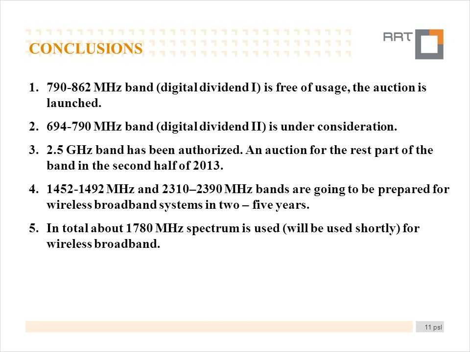 CONCLUSIONS 1.790-862 MHz band (digital dividend I) is free of usage, the auction is launched.