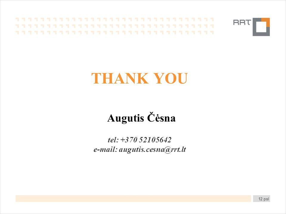 THANK YOU Augutis Čėsna tel: +370 52105642 e-mail: augutis.cesna@rrt.lt 12 psl