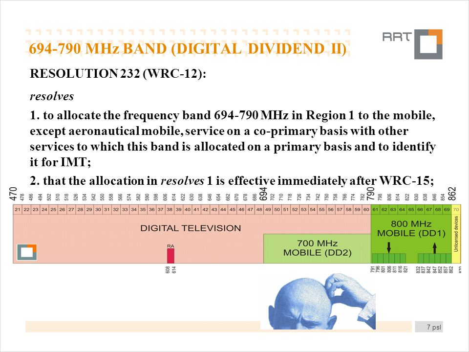 694-790 MHz BAND (DIGITAL DIVIDEND II) RESOLUTION 232 (WRC 12): resolves 1.