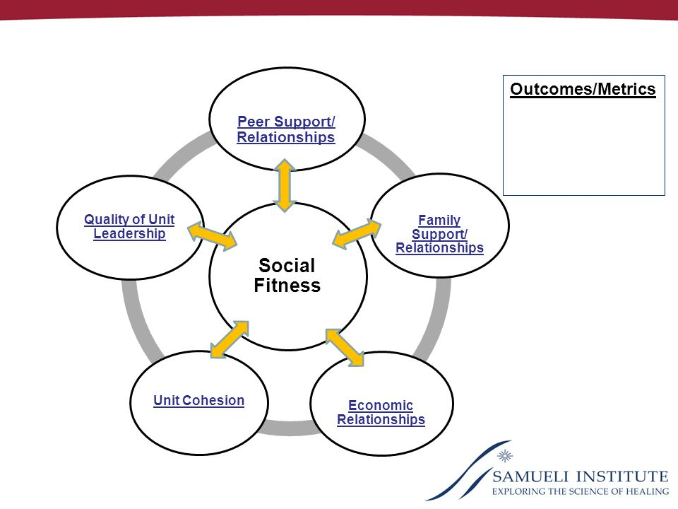 Social Fitness Peer Support/ Relationships Family Support/ Relationships Economic Relationships Quality of Unit Leadership Outcomes/Metrics Unit Cohesion