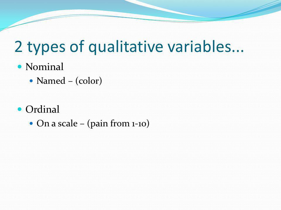 2 types of qualitative variables... Nominal Named – (color) Ordinal On a scale – (pain from 1-10)