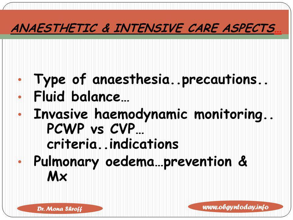 www.obgyntoday.info Dr. Mona Shroff ANAESTHETIC & INTENSIVE CARE ASPECTS… Type of anaesthesia..precautions.. Fluid balance… Invasive haemodynamic moni