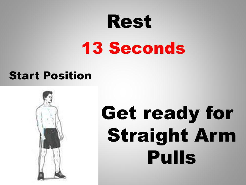 Rest Get ready for Straight Arm Pulls 14 Seconds Start Position