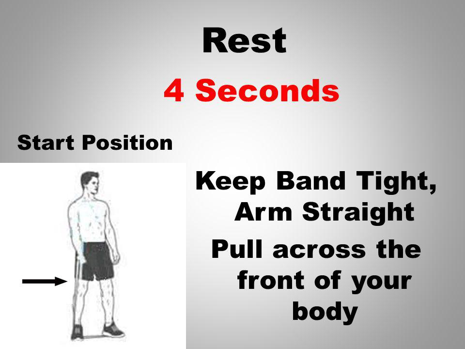 Rest Keep Band Tight, Arm Straight Pull across the front of your body 5 Seconds Start Position
