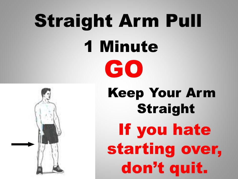 Straight Arm Pull Keep Band Tight, Arm Straight Pull across the front of your body 1 Minute GO