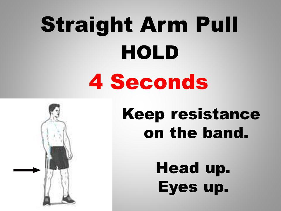 Straight Arm Pull Keep resistance on the band. HOLD Head up. Eyes up. 5 Seconds