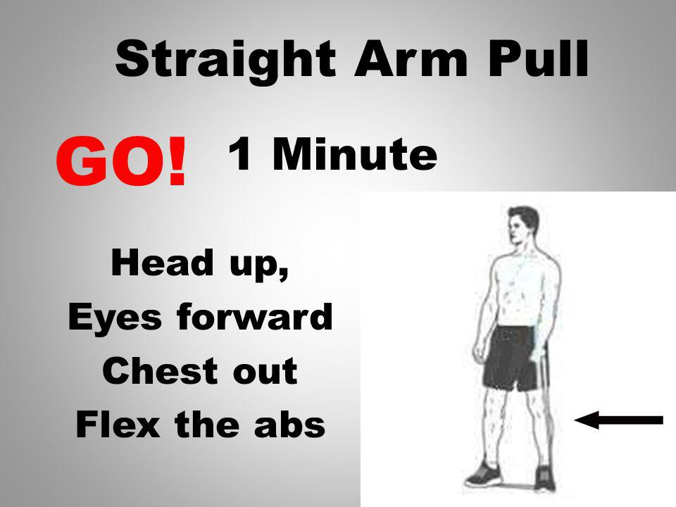 1 Minute Keep Band Tight, Arm Straight Pull across the front of your body Straight Arm Pull GO!