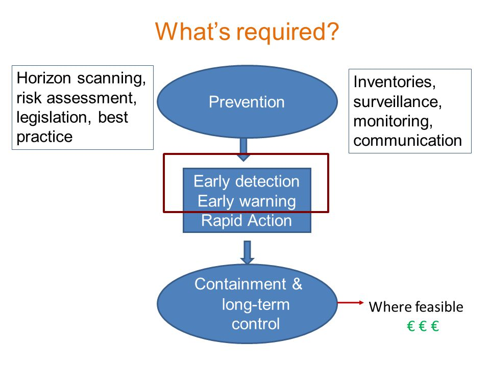 Prevention Early detection Early warning Rapid Action Containment & long-term control Whats required.