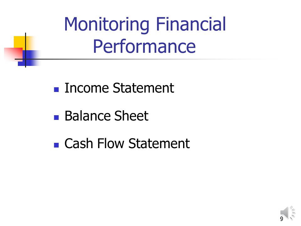 9 Monitoring Financial Performance Income Statement Balance Sheet Cash Flow Statement