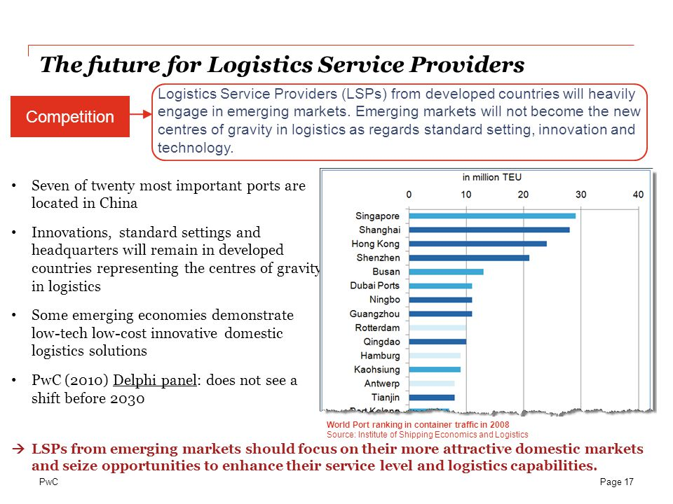 PwC Logistics Service Providers (LSPs) from developed countries will heavily engage in emerging markets. Emerging markets will not become the new cent