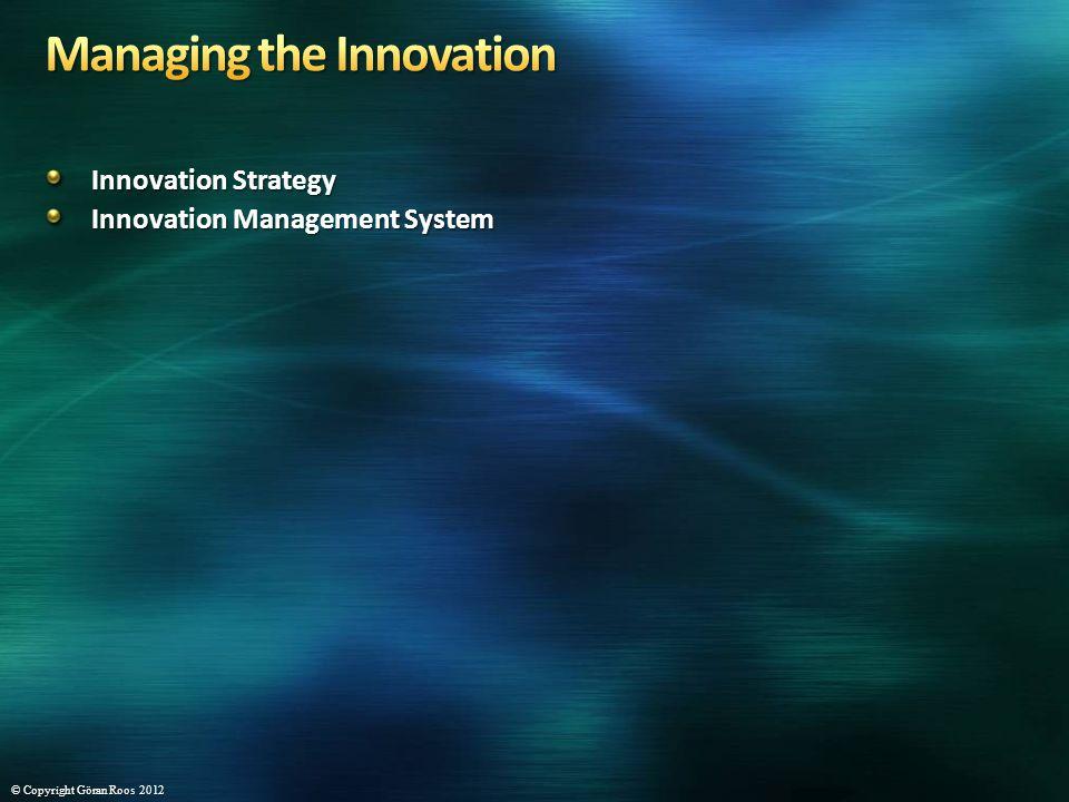 Innovation Strategy Innovation Management System © Copyright Göran Roos 2012