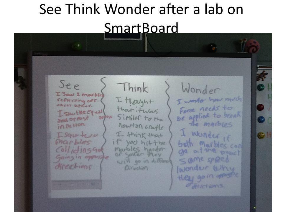 See Think Wonder after a lab on SmartBoard