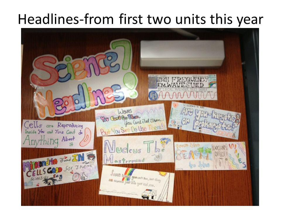 Headlines-from first two units this year