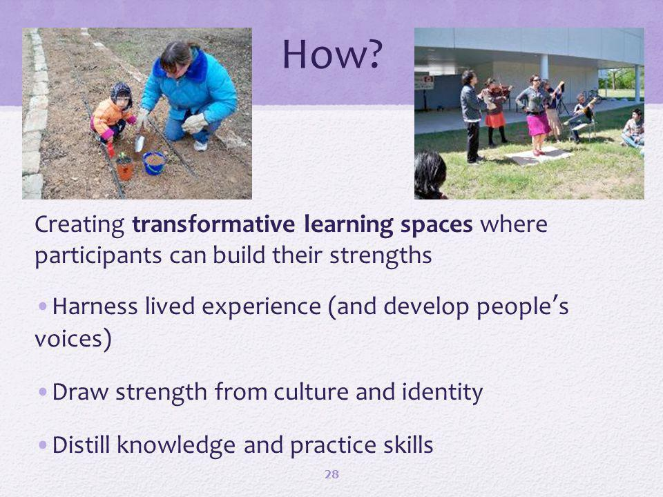 How? Creating transformative learning spaces where participants can build their strengths Harness lived experience (and develop peoples voices) Draw s