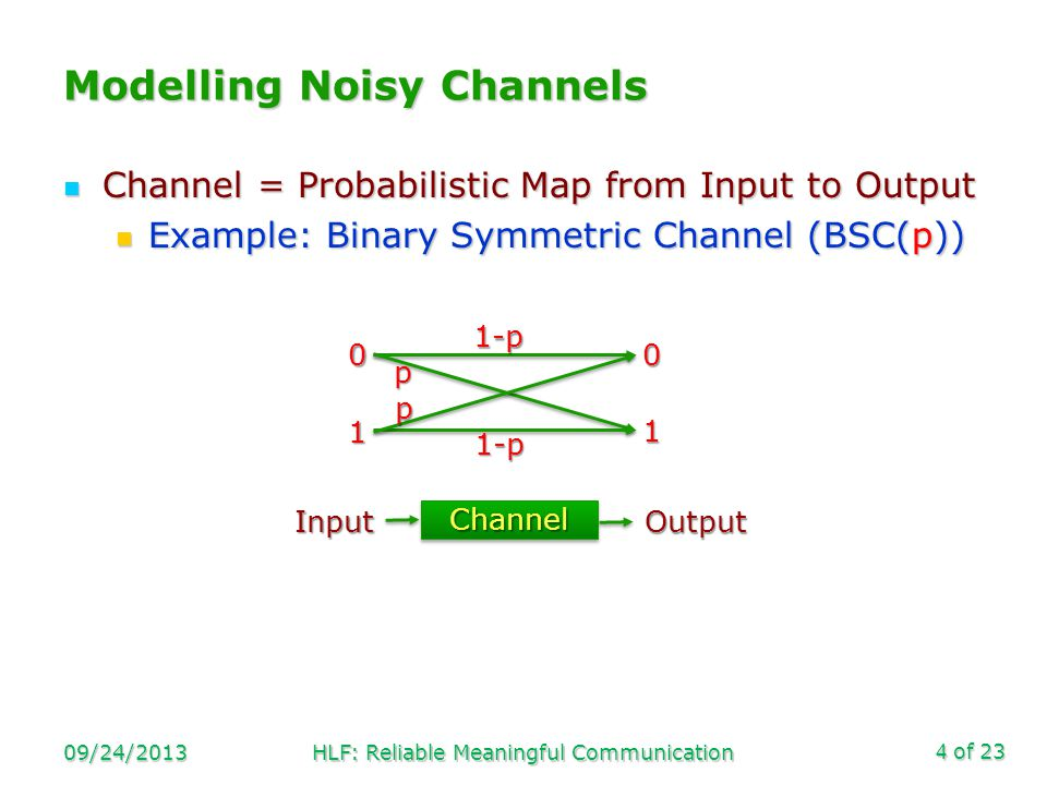 of 23 Channel = Probabilistic Map from Input to Output Channel = Probabilistic Map from Input to Output Example: Binary Symmetric Channel (BSC(p)) Example: Binary Symmetric Channel (BSC(p)) Modelling Noisy Channels 09/24/2013HLF: Reliable Meaningful Communication4 00 1 1 1-p p p 1-p Input Output ChannelChannel