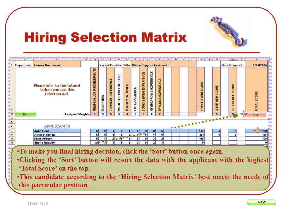 Texas Tech Hiring Selection Matrix To make you final hiring decision, click the Sort button once again. Clicking the Sort button will resort the data