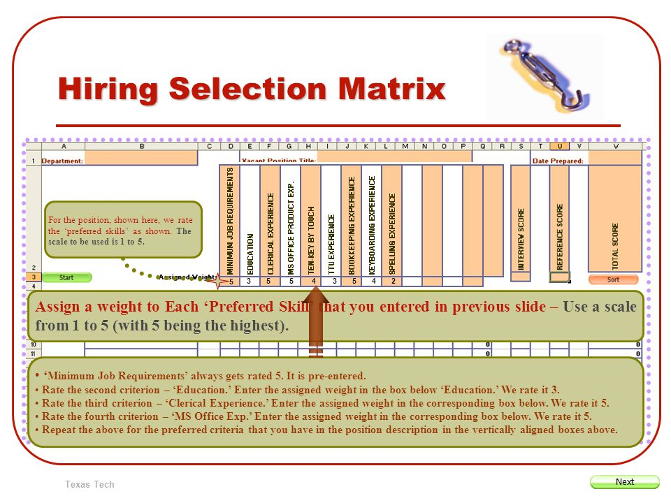Texas Tech Hiring Selection Matrix Assign a weight to Each Preferred Skill that you entered in previous slide – Use a scale from 1 to 5 (with 5 being