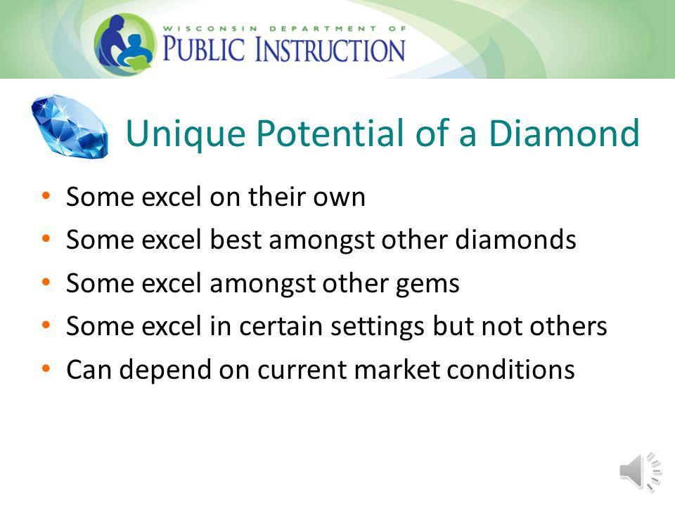 Unique Potential of a Diamond Some excel on their own Some excel best amongst other diamonds Some excel amongst other gems Some excel in certain settings but not others Can depend on current market conditions