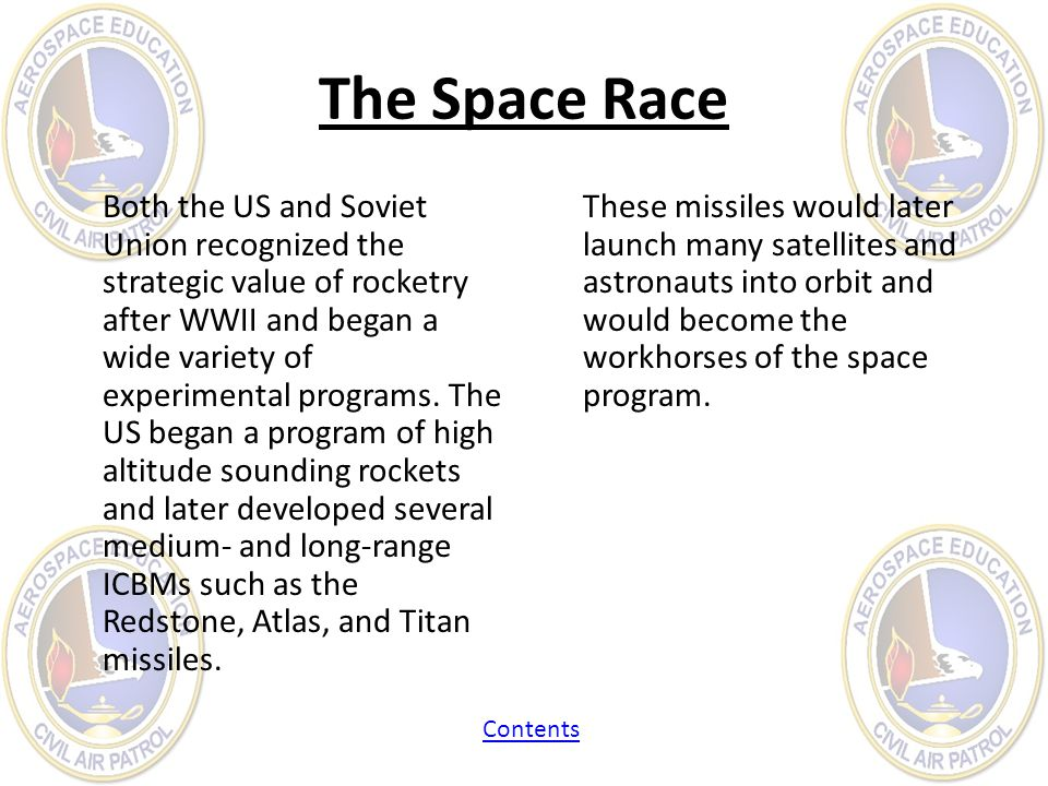 The Space Race Both the US and Soviet Union recognized the strategic value of rocketry after WWII and began a wide variety of experimental programs. T