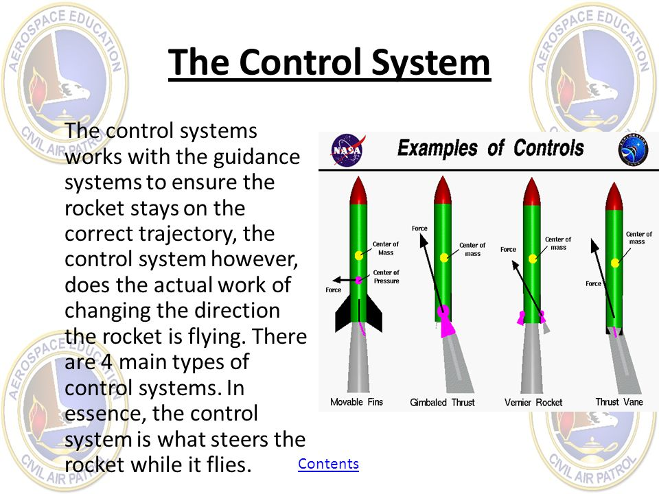 The Control System The control systems works with the guidance systems to ensure the rocket stays on the correct trajectory, the control system howeve