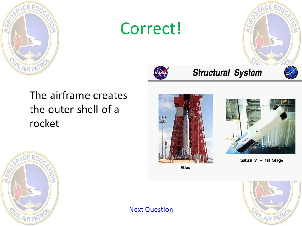 Correct! The airframe creates the outer shell of a rocket Next Question