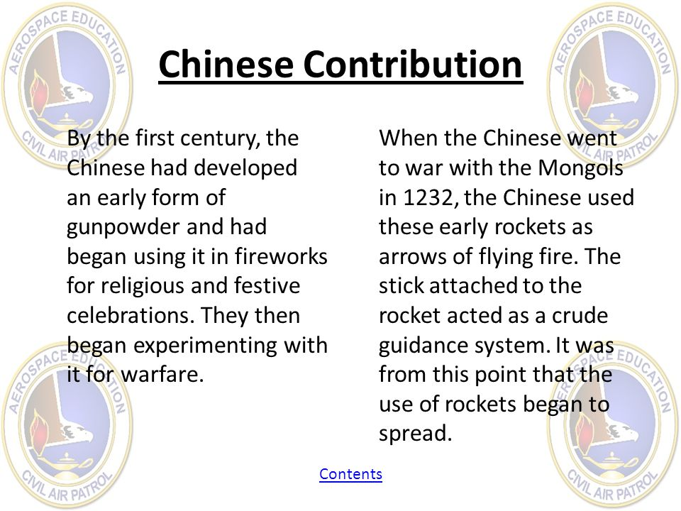 Chinese Contribution By the first century, the Chinese had developed an early form of gunpowder and had began using it in fireworks for religious and
