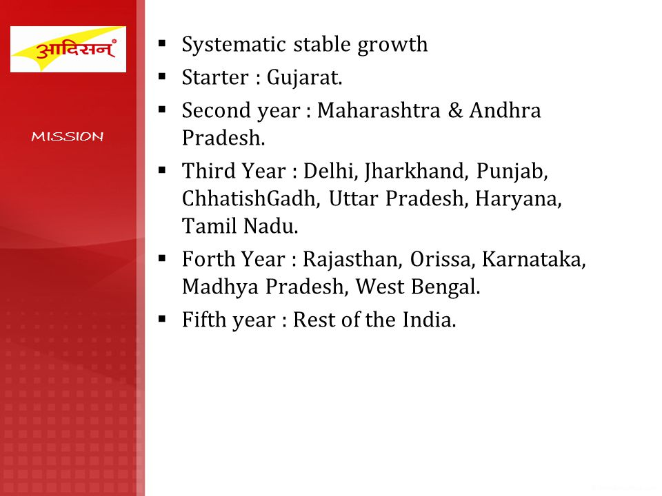 Systematic stable growth Starter : Gujarat. Second year : Maharashtra & Andhra Pradesh. Third Year : Delhi, Jharkhand, Punjab, ChhatishGadh, Uttar Pra