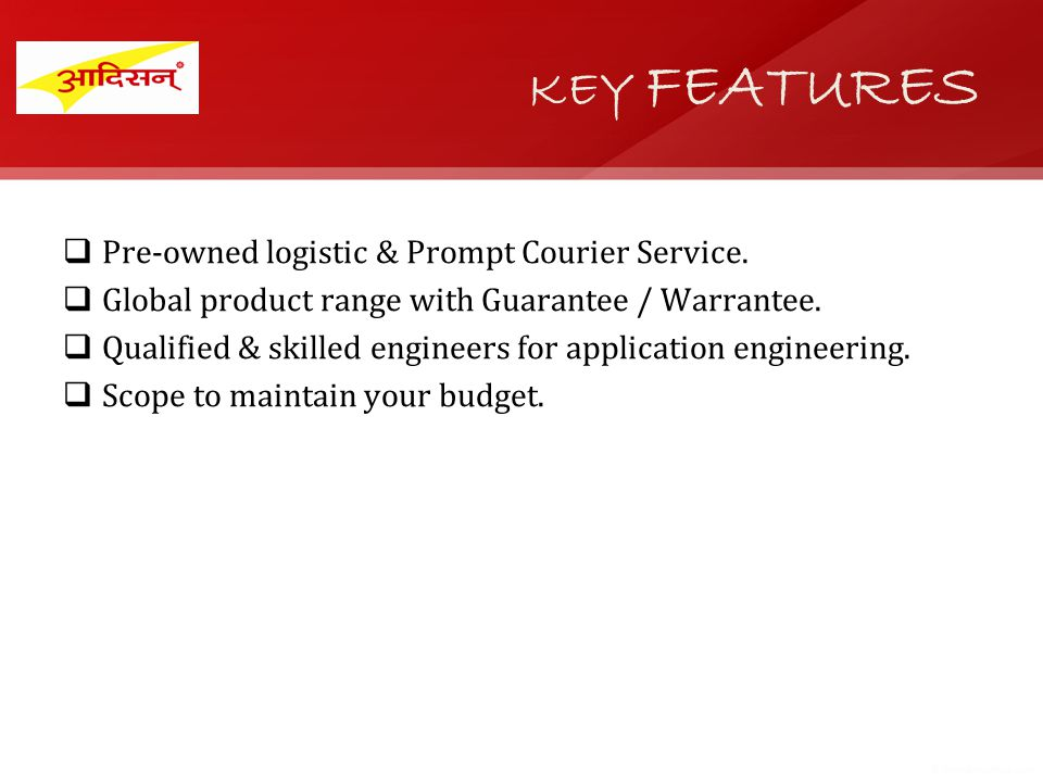Pre-owned logistic & Prompt Courier Service. Global product range with Guarantee / Warrantee.
