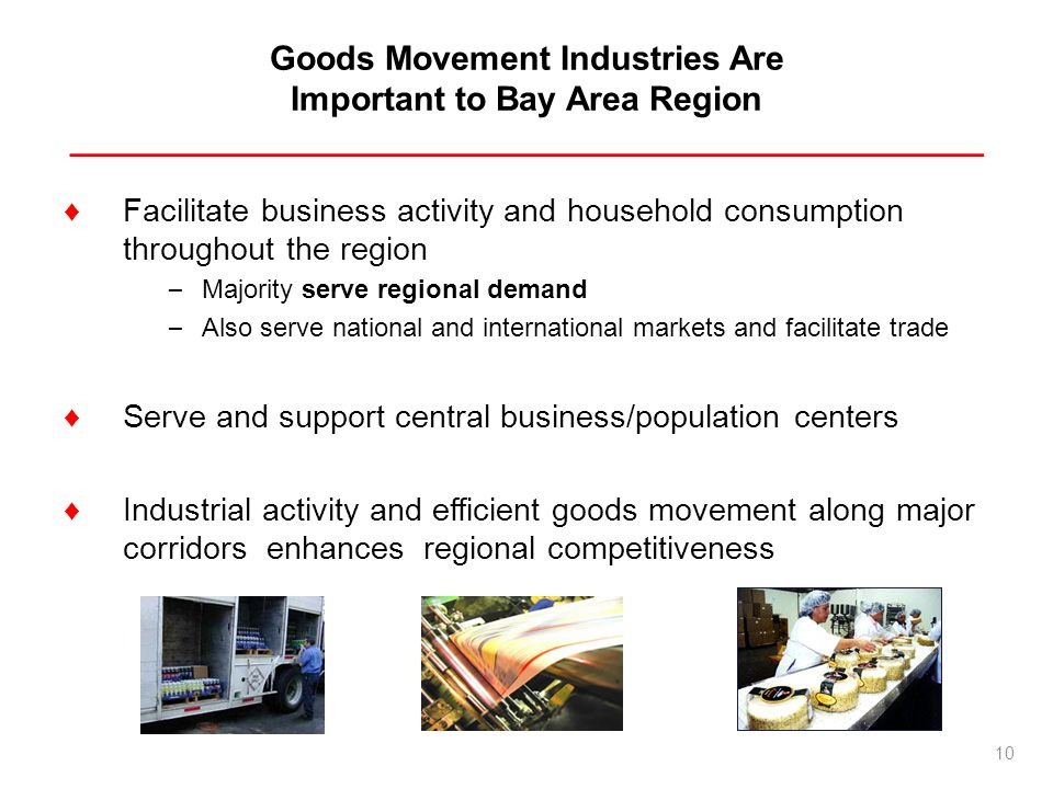 Goods Movement Industries Are Important to Bay Area Region _________________________________________________ Facilitate business activity and househol