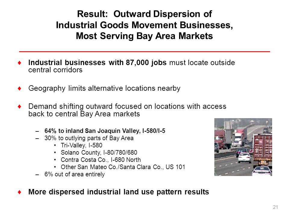 Result: Outward Dispersion of Industrial Goods Movement Businesses, Most Serving Bay Area Markets _________________________________________________ In