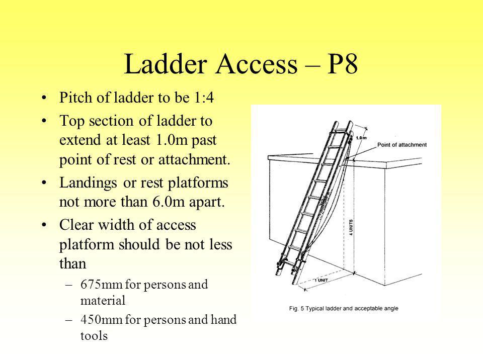Ladder Access – P8 Pitch of ladder to be 1:4 Top section of ladder to extend at least 1.0m past point of rest or attachment. Landings or rest platform