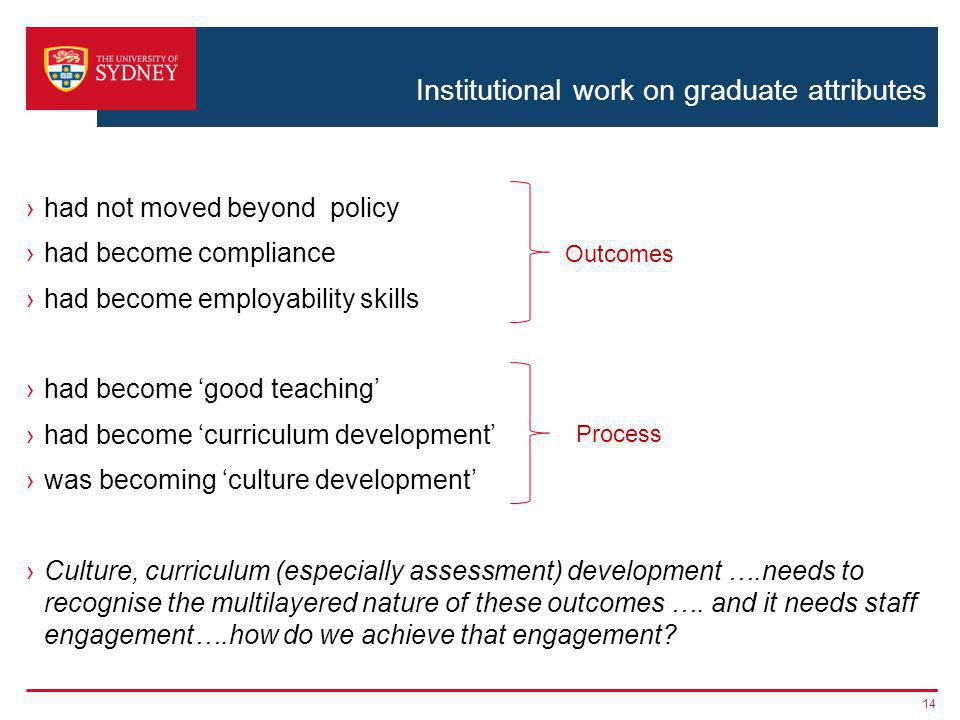 Institutional work on graduate attributes had not moved beyond policy had become compliance had become employability skills had become good teaching had become curriculum development was becoming culture development Culture, curriculum (especially assessment) development ….needs to recognise the multilayered nature of these outcomes ….