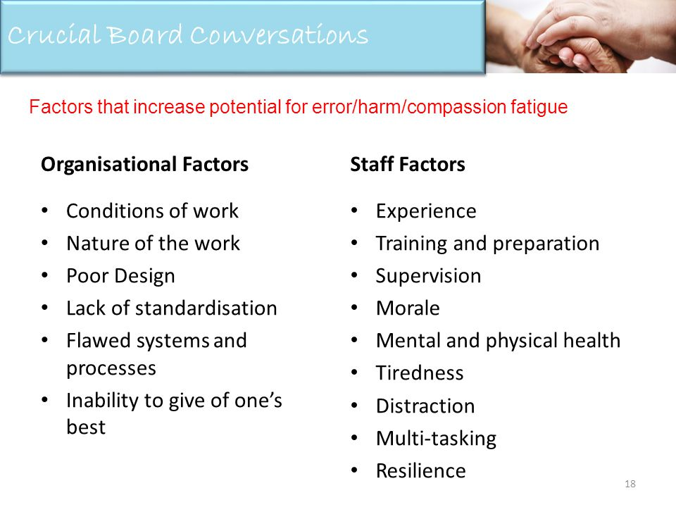 Organisational Factors Conditions of work Nature of the work Poor Design Lack of standardisation Flawed systems and processes Inability to give of ones best Staff Factors Experience Training and preparation Supervision Morale Mental and physical health Tiredness Distraction Multi-tasking Resilience 18 Crucial Board Conversations Factors that increase potential for error/harm/compassion fatigue