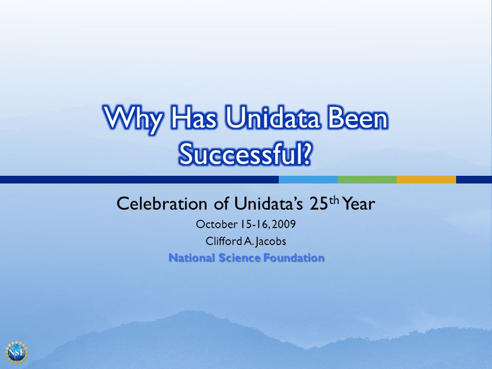 Celebration of Unidatas 25 th Year October 15-16, 2009 Clifford A.