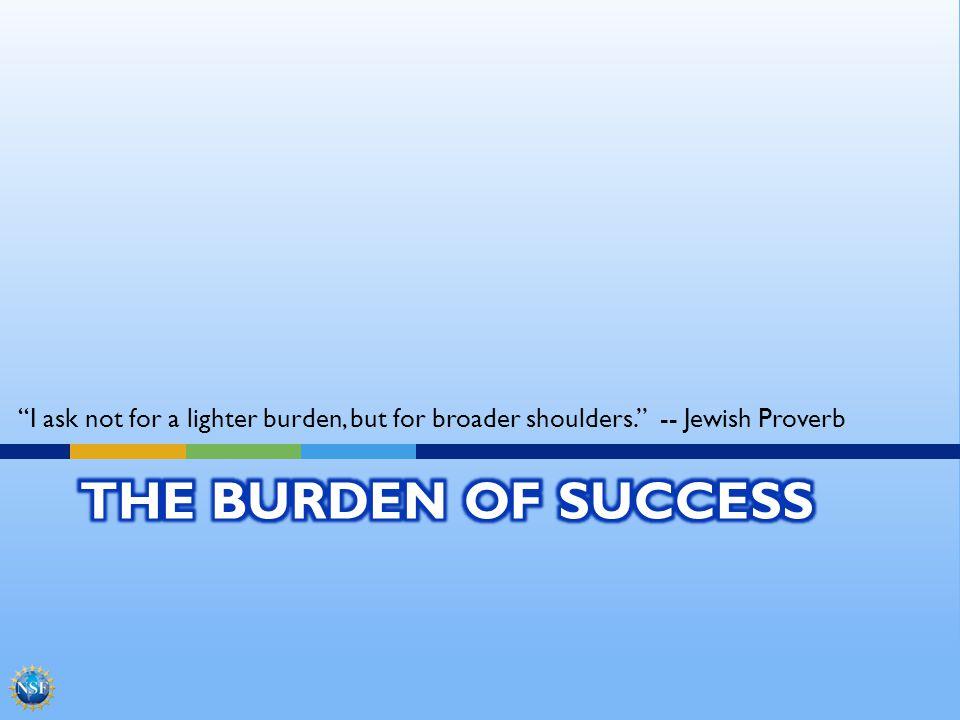 I ask not for a lighter burden, but for broader shoulders. -- Jewish Proverb