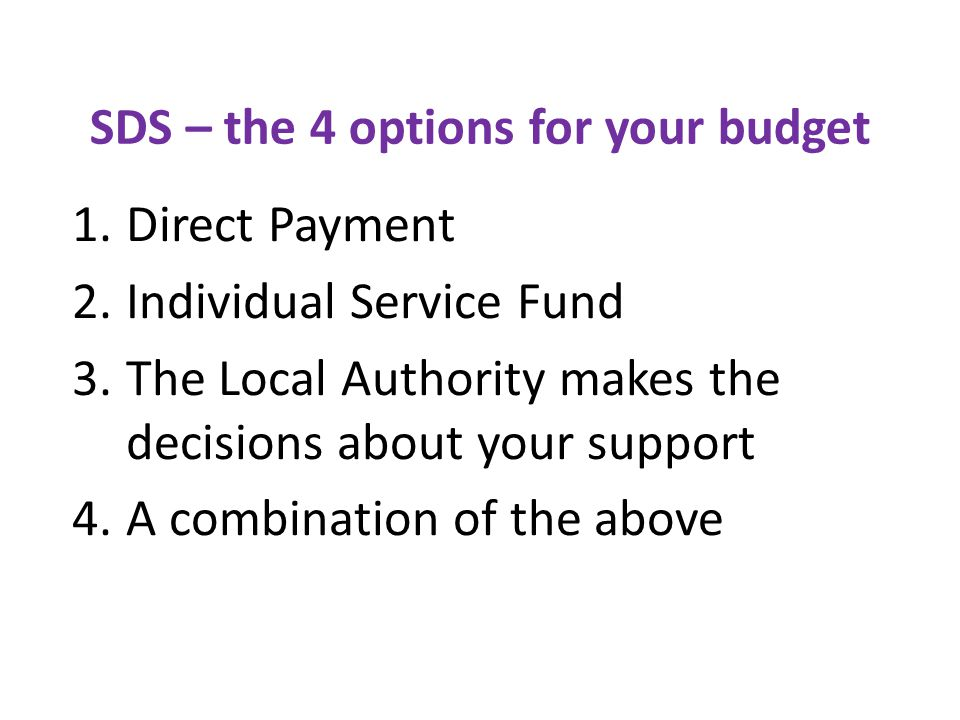 SDS – the 4 options for your budget 1.Direct Payment 2.Individual Service Fund 3.The Local Authority makes the decisions about your support 4.A combination of the above
