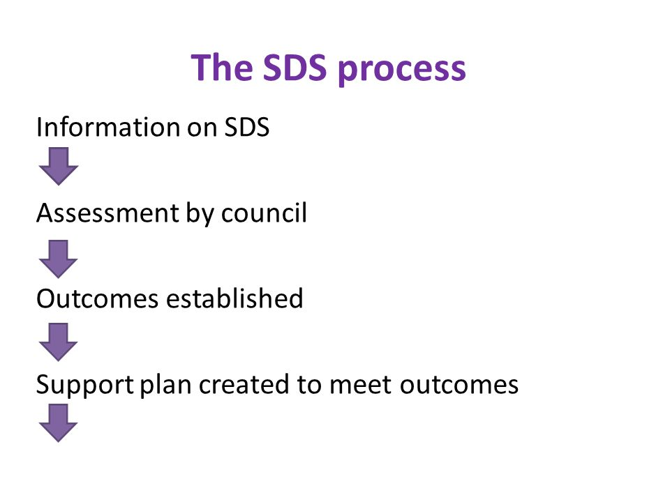 The SDS process Information on SDS Assessment by council Outcomes established Support plan created to meet outcomes