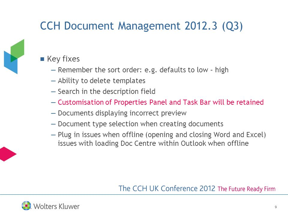 CCH Document Management Questions