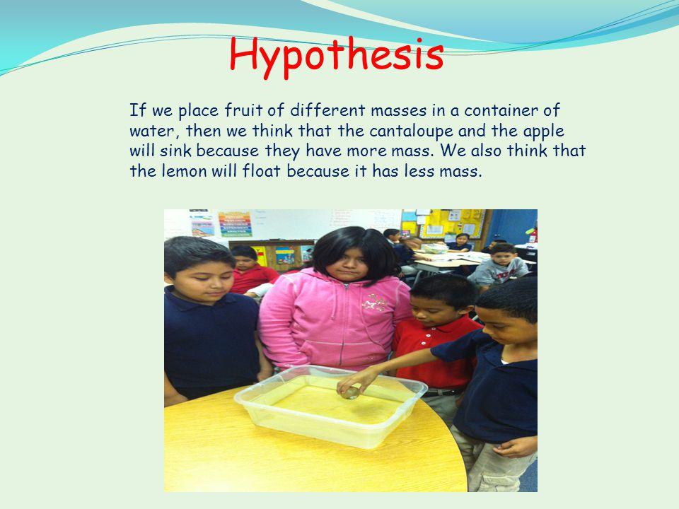 Hypothesis Cantaloupe votes Sink 14 Float 2 Apple votes Sink 9 Float 7 We think the apple will sink.